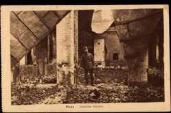 Postcard Pinsk Weißrussland, Ansicht des zerstörten Bahnhofs