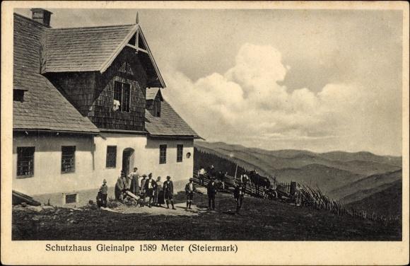 Postcard Steiermark, Schutzhaus Gleinalpe, Besucher, Panorama, Gebirge