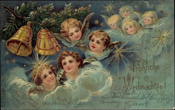 postcard frohe weihnachten engel in den wolken akpool. Black Bedroom Furniture Sets. Home Design Ideas