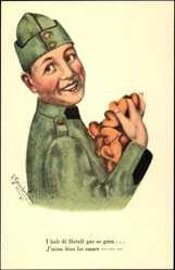 Künstler Ak Gautschi, R., Schweizer Soldat mit Herzen in der Hand
