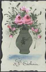 Zelluloid Ak Glückwunsch Namenstag Catherine, Blumenvase