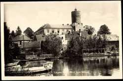 Ak Lagow Ostbrandenburg, Blick zum Schloss, Fluss