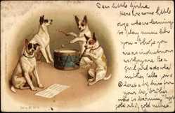 Litho Ansicht von vier Hunden beim Musikmachen, Trommel, Notenblatt