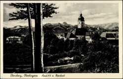 Postcard Ebersberg, Blick auf den Ort von Nordost, Kirche