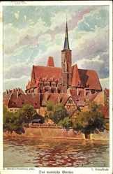Künstler Ak Günther, D., Wrocław Breslau Schlesien, Blick zur Kreuzkirche
