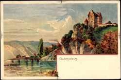 Künstler Litho Gugg, Gutenstein Sigmaringen, Blick zur Burg Gutenstein