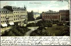 Ak Riesa an der Elbe, Parkanlagen am Kaiser Wilhelmplatz