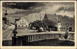 Postcard Grafing bei München, Blick auf den Marktplatz, Denkmal, Gasthaus
