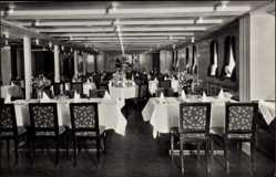 Postcard Dampfschiff Deutschland der HAPAG, Speisesaal Touristenklasse