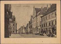 Postcard Ingolstadt, Blick in die Ludwigstraße, Geschäft, Passanten