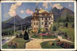 Künstler Ak Kosy, E., Lazne Tatr. Lomnica Slowakei, Grandhotel Praha, Parkpartie