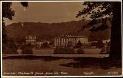 Postcard Derbyshire East Midlands, Chatsworth House from the Park