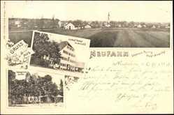 Postcard Neufarn Vaterstetten, Gasthof Stangl mit Garten und Totalansicht