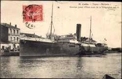 Postcard Cette, Vapeur Medjerda, Compagnie de Navigation Mixte, Paquebot