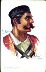 Künstler Ak Dupuis, Em., Infanterie Monténegrine, Montenegro, Soldat