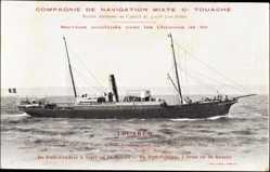 Postcard Touareg, Compagnie de Navigation Mixte, Cie Touache, Dampfer auf See