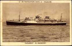 Postcard Paquebot El Mansour, Compagnie de Navigation Mixte, Cie. Touache