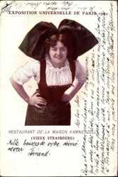 Cp Paris, Weltausstellung 1900, Restaurant de la Maison Kammerzell, Tracht