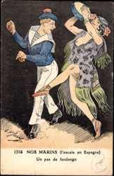 Ansichtskarte / Postkarte Nos Marins, L'Escale en Espagne, Fandango, Matrose, Tanz, Brüste