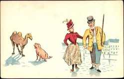 Künstler Ak Liebespaar, Kamel und Schwein, Frau und Mann
