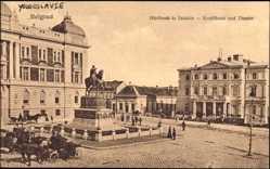 Postcard Belgrad Serbien, Kreditbank und Theater, Reiterstandbild, Pferdekutsche