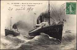 Postcard Le Havre, Paquebot Provence, MS Deutschland, SGTM, HAPAG