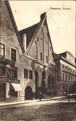 Postcard Tallinn Reval Estland, Blick von der Straße auf ein Haus mit Geschäft