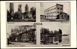 Postcard Apatin Serbien, Seeblick, Kirche, Stadthaus, Parkanlage