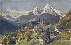Künstler Ak Compton, E. H. Berchtesgaden, Stadtpanorama, Gebirge, Türme