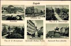 Postcard Zagreb Kroatien, Denkmäler, Parkanlage, Kazaliste, Marktplatz