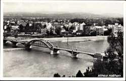Postcard Piešťany Pistyan Pistian Slowakei, Brücke über den Fluss, Panorama