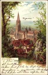 Künstler Litho Jung,C, Freiburg im Breisgau Baden Württemberg, Blick auf Münster