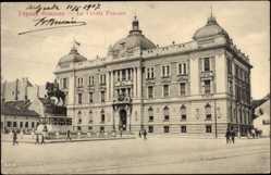 Postcard Belgrad Serbien, Le Crédit Foncier, Kreditinstitut, Reiterdenkmal
