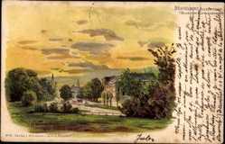 Künstler Litho Tannert, E., Düsseldorf, Blick vom Napoleonsberg, Alleestraße