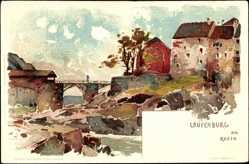 Künstler Litho Voellmy, F., Laufenburg am Hochrhein, Flusspartie, Brücke, Häuser