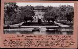 Postcard Ludwigsburg in Baden Württemberg, Blick auf das Königl. Schloss, Flusspartie