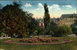 Postcard Riesa an der Elbe Sachsen, Parkanlage mit Häusern am Kaiser Wilhelm Platz