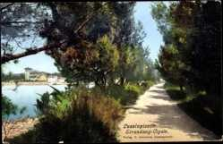 Postcard Lussinpiccolo Kroatien, Blick in den Strandweg Cigale, Häuser, Gewässer
