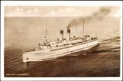 Postcard Fährschiff Deutschland aus Vogelsicht, HAPAG, Dampfer