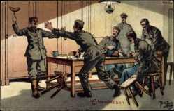 Künstler Ak Thiele, Arthur, Abendessen, Soldaten am Tisch, Wurst