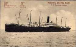Postcard Dampfschiff President Grant, HAPAG, Steamliner