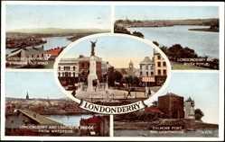 Postcard Londonderry Irland, Strabane Old Road, River Foyle, Lighthouse