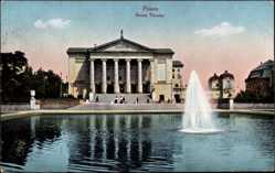 Ak Poznań Posen, Neues Theater, Wasserbecken, Fontäne