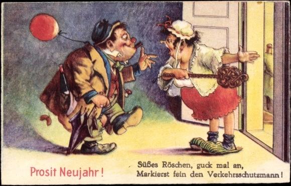 Postcard Glückwunsch Neujahr, Betrunkener Ehemann, Frau