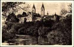 Postcard Freising in Oberbayern, Blick vom Wasser auf den Dom