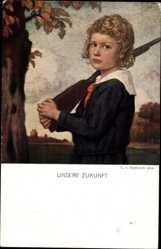 Künstler Ak Zumbusch, Ludwig von, Unsere Zukunft, Junge mit Gewehr