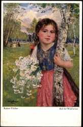 Künstler Ak Völcker, Robert, Auf der Waldwiese, Mädchen mit Blumenstrauß