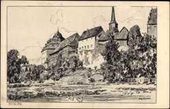 Künstler Ak Ubbelohde, O. Schlitz, Federzeichnung, Fachwerk, Glockenturm