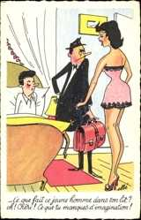 Künstler Ak Ce que fait ce jeune homme dans ton lit, Ehepaar, Ehebett