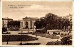 Postcard Belgrad Serbien, La Gare, Blick von der Parkanlage auf den Bahnhof